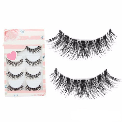 5 Pairs - Black Cross False Eyelashes