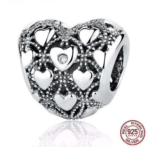 925 Sterling Silver - 'Genuine Diamond' Silver Heart Charm