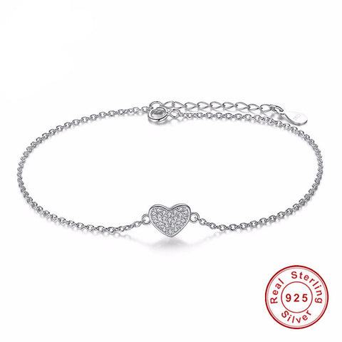 925 Sterling Silver - Womens Silver Love Heart Bracelet