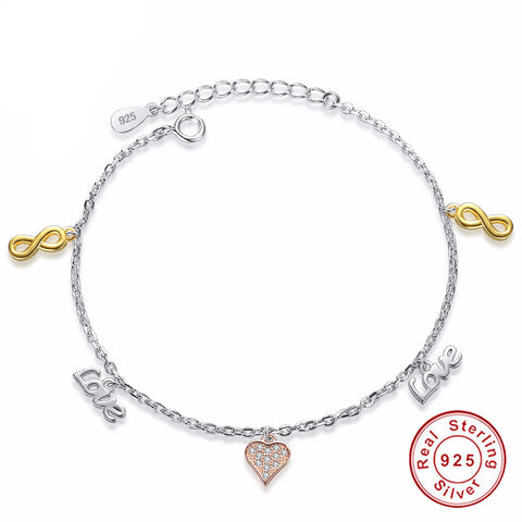 925 Sterling Silver - Womens Infinity Love Charms Bracelet