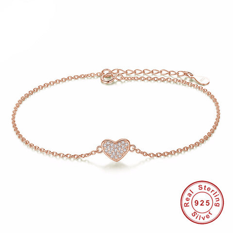 925 Sterling Silver - Rose Gold Love Heart Bracelet