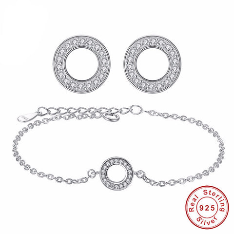 925 Sterling Silver - Womens Silver Jewellery Set