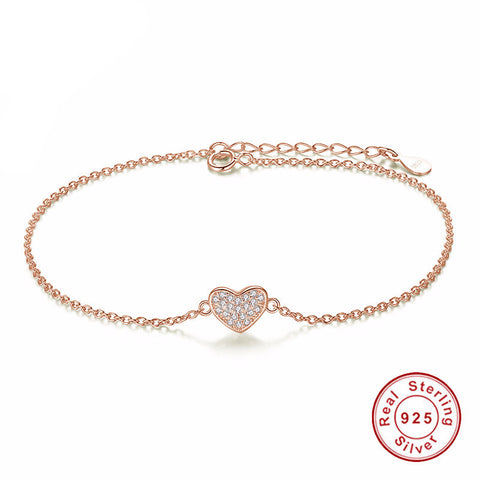 925 Sterling Silver -  Womens Gold Heart Bracelet