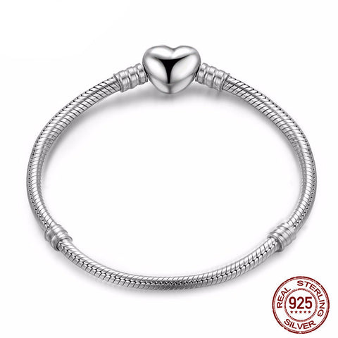 925 Sterling Silver - Womens Silver Charm Bracelet With Heart Clip
