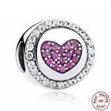 925 Sterling Silver - Pink Heart Silver Charm