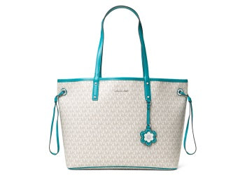 24c01c2e7fa3 ... wholesale michael kors carter large reversible tote vanilla tile blue  ed7e0 6c656