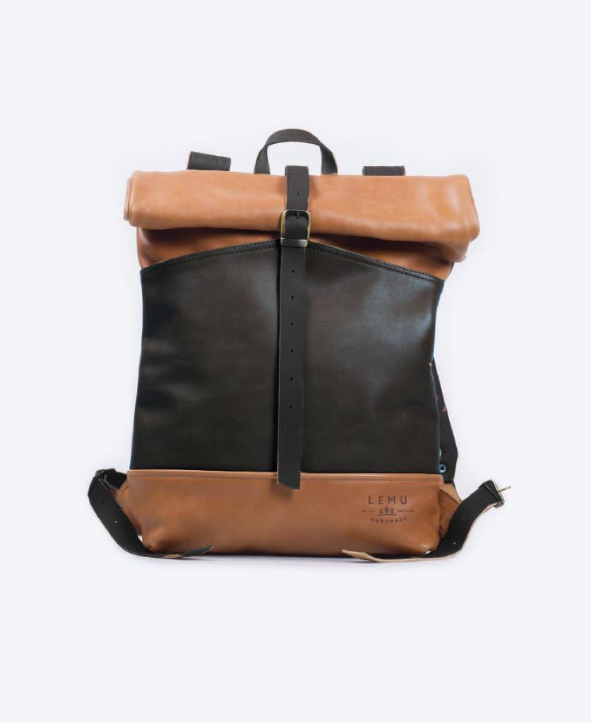 Rucksack Mahuida Leather Series Negro / Caramelo