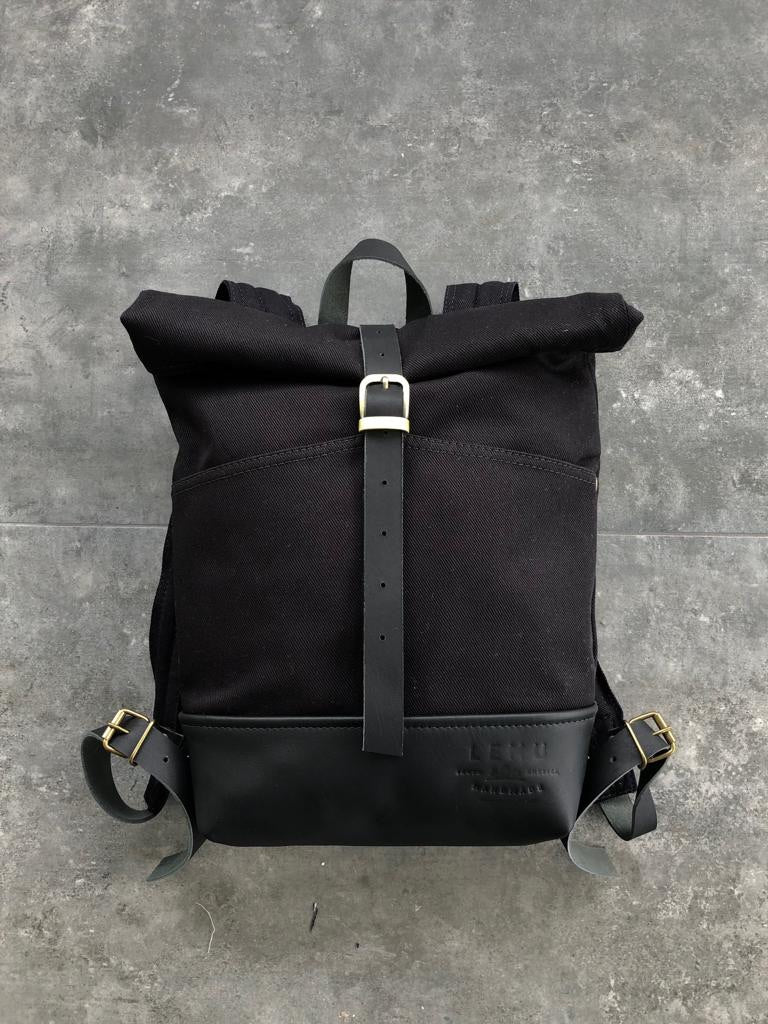 Rucksack Mahuida Mini Basic Series Black Black - Mochila Enrollable - LEMU HANDMADE