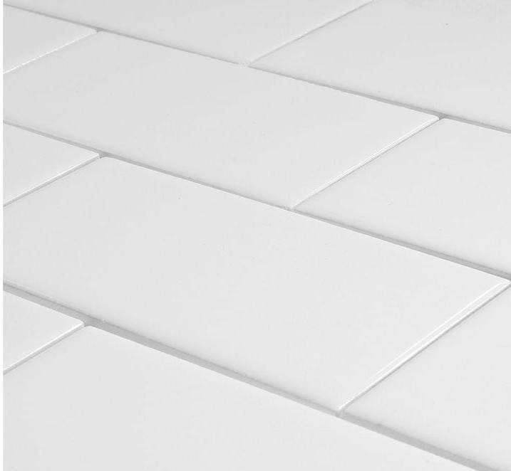 "Ceramic Wall Subway Tile 3""X6"" Arctic White"