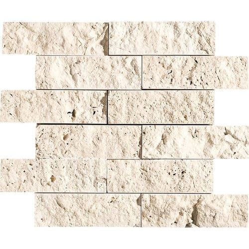 Ivory Rock Face 2x6 Travertine Mosaics
