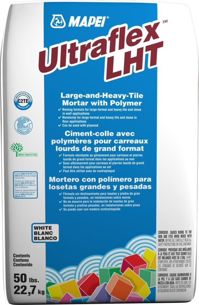 MAPEI's Large-and Heavy-Tile (LHT) Mortars White