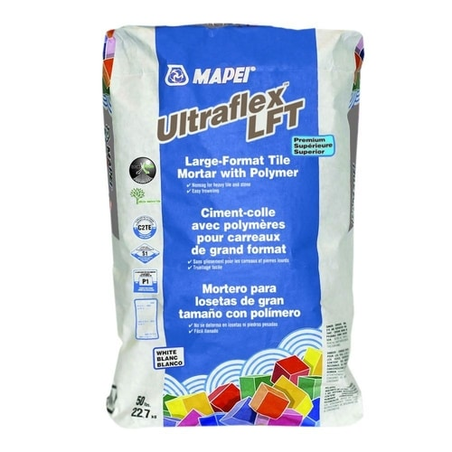 MAPEI's Ultraflex  Large-and-Heavy-Tile Mortar with Polymer LFT White