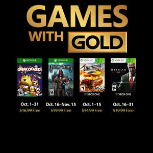 Games with Gold image showing Overcooked, Victor Vran, Stuntman and Hitman blood money