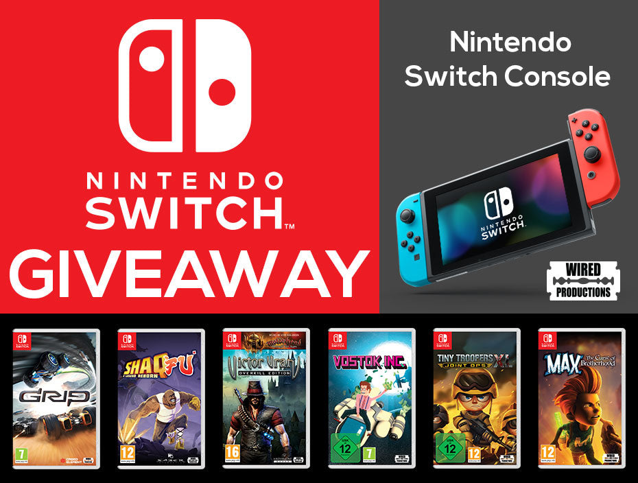 Image showing the Nintendo Switch giveaway! Featuring a shot of the Switch console pls box shots for GRIP, Shaq Fu, Victor Vran, Vostok Inc., Tiny Troopers and Max: The Curse of brotherhood