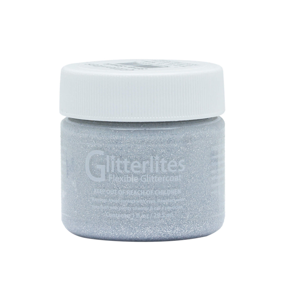 Angelus Glitter Leather Paint - Silver Spark 132