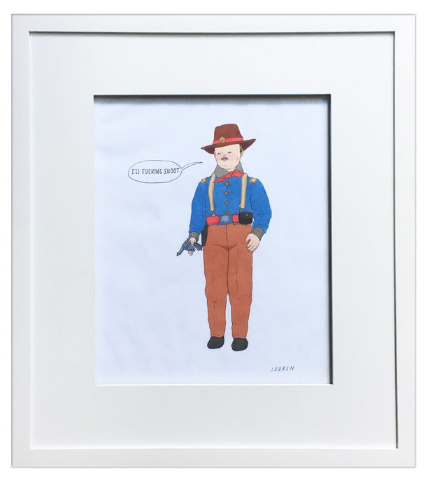 'fucking shoot' framed drawing