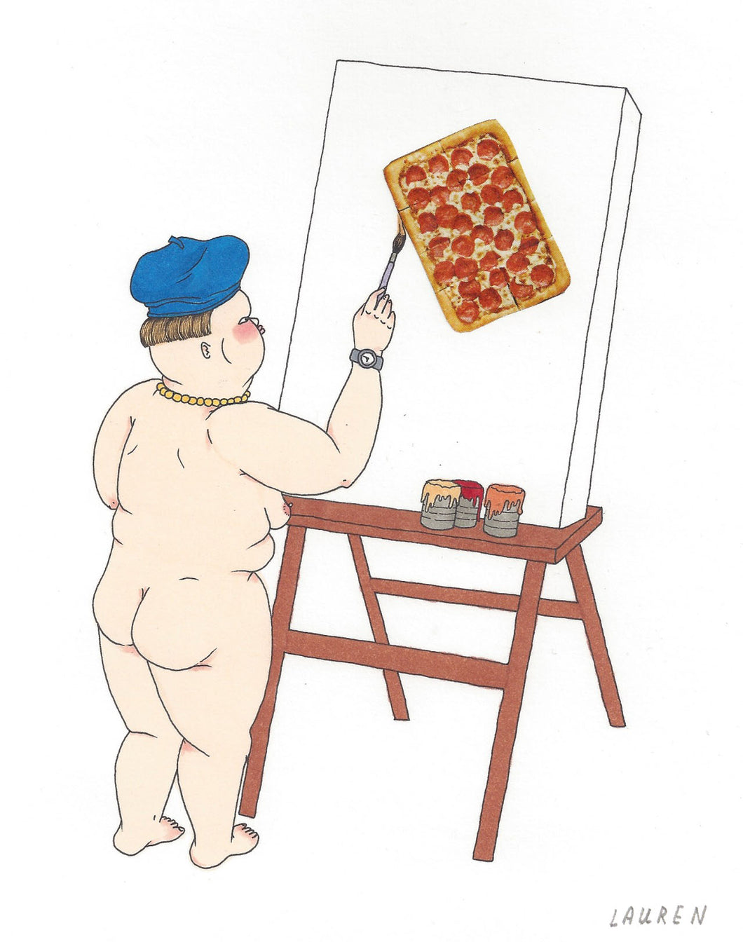 'pizza portrait' drawing