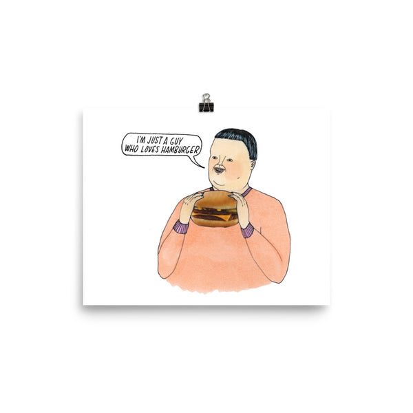 'hamburger guy' poster print