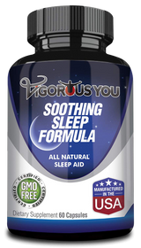 Soothing Sleep Formula - All Natural Sleep Aid for Insomnia Relief and a Better Nights Sleep. Valerian, L-Theanine, Melatonin, 5-HTP, and more.  Sleep Well and Seize the Day.