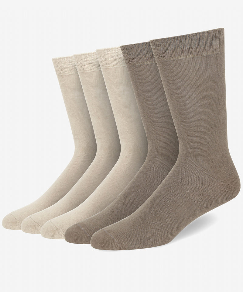 KHAKI (K) COTTON BLEND SOCKS (5 PAIR PER PACK)