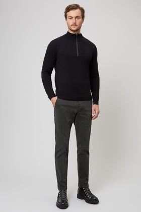 Black Merino 1/4 Zip Sweater