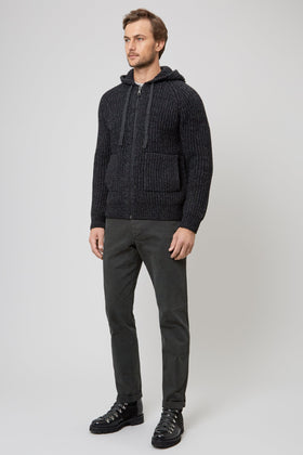 Charcoal Hooded Knit Zip Through