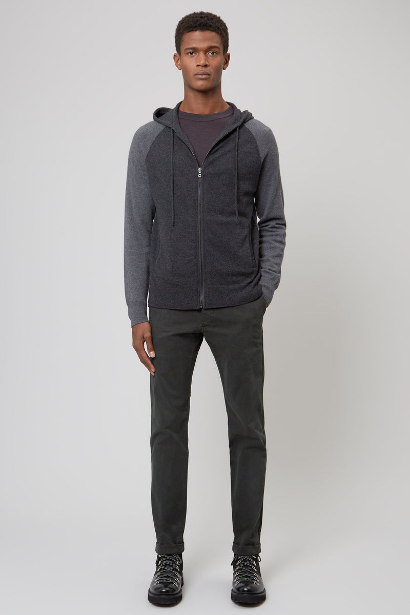Charcoal Wool & Cashmere Seamless Hooded Zip Sweater