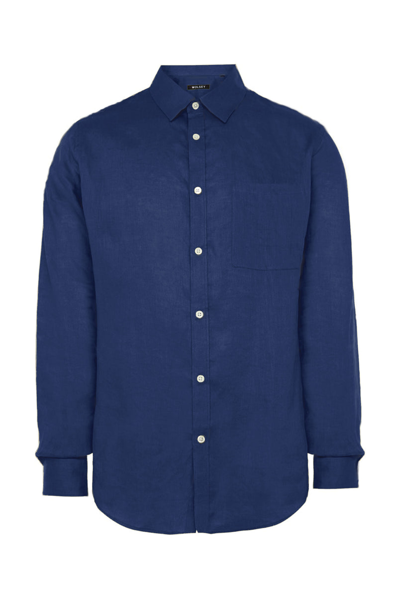 Dark Chambray Garment Dyed Linen Shirt