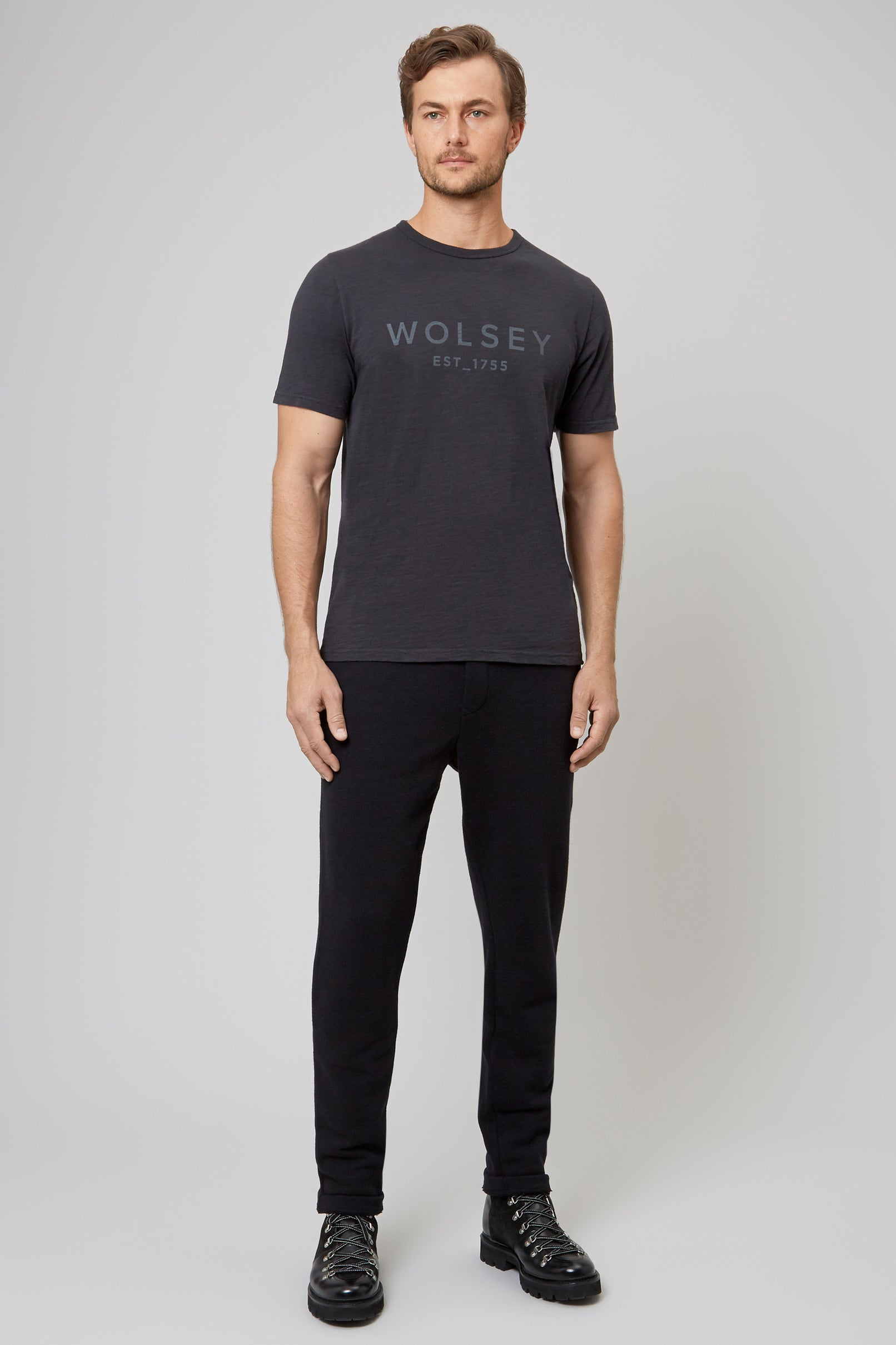 Charcoal Wolsey 1755 Cotton T-Shirt