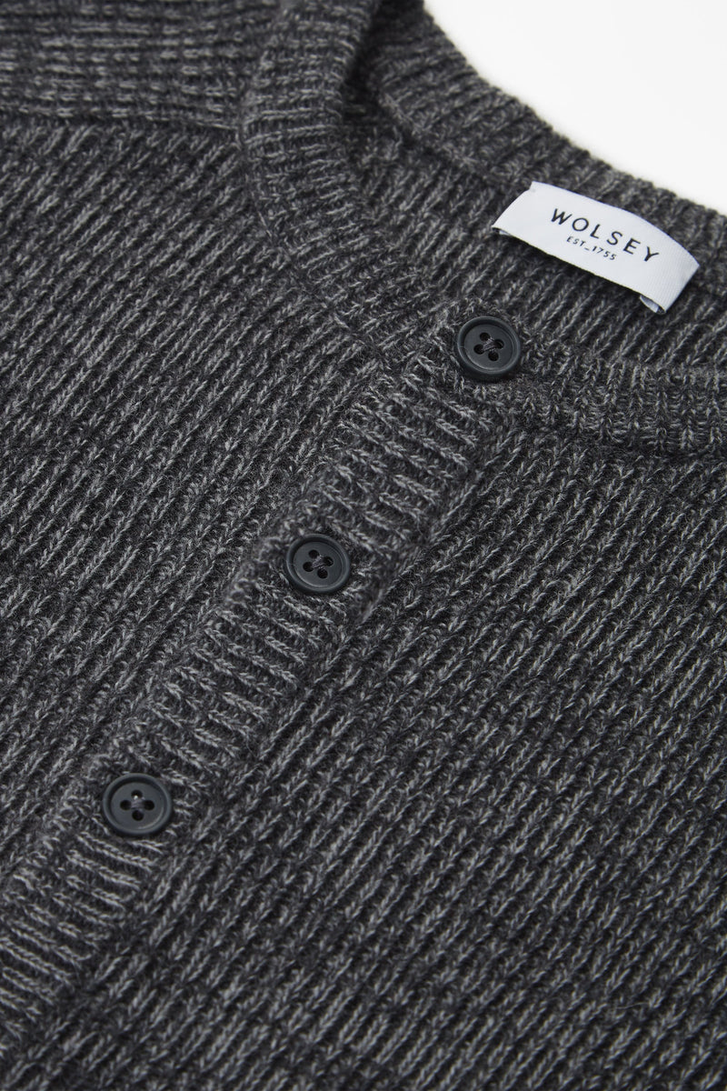 GREY KNIT HENLEY SWEATER