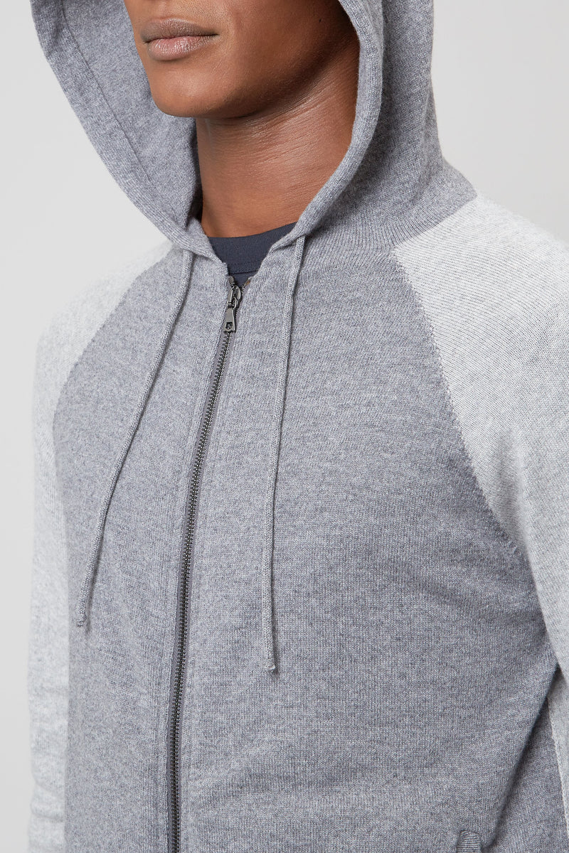 Grey Wool & Cashmere Seamless Hooded Zip Sweater