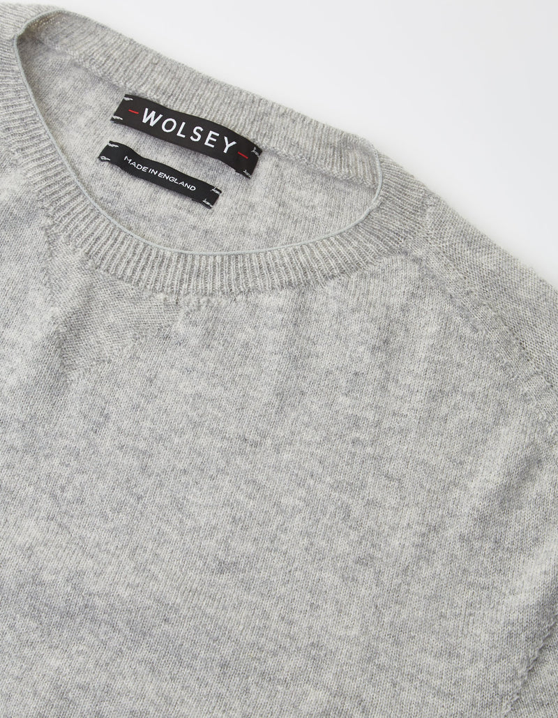 GREY WOOL & CASHMERE SEAMLESS SWEATER