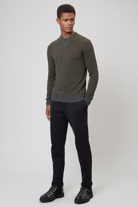 Military Grey Merino Wool Crew Neck Sweater