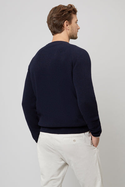 NAVY FISHERMANS RIB CREW NECK PULLOVER