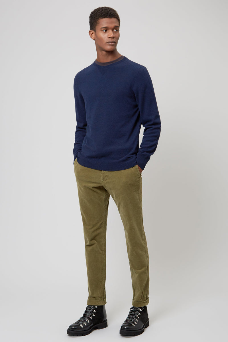 Navy Wool & Cashmere Seamless Sweater