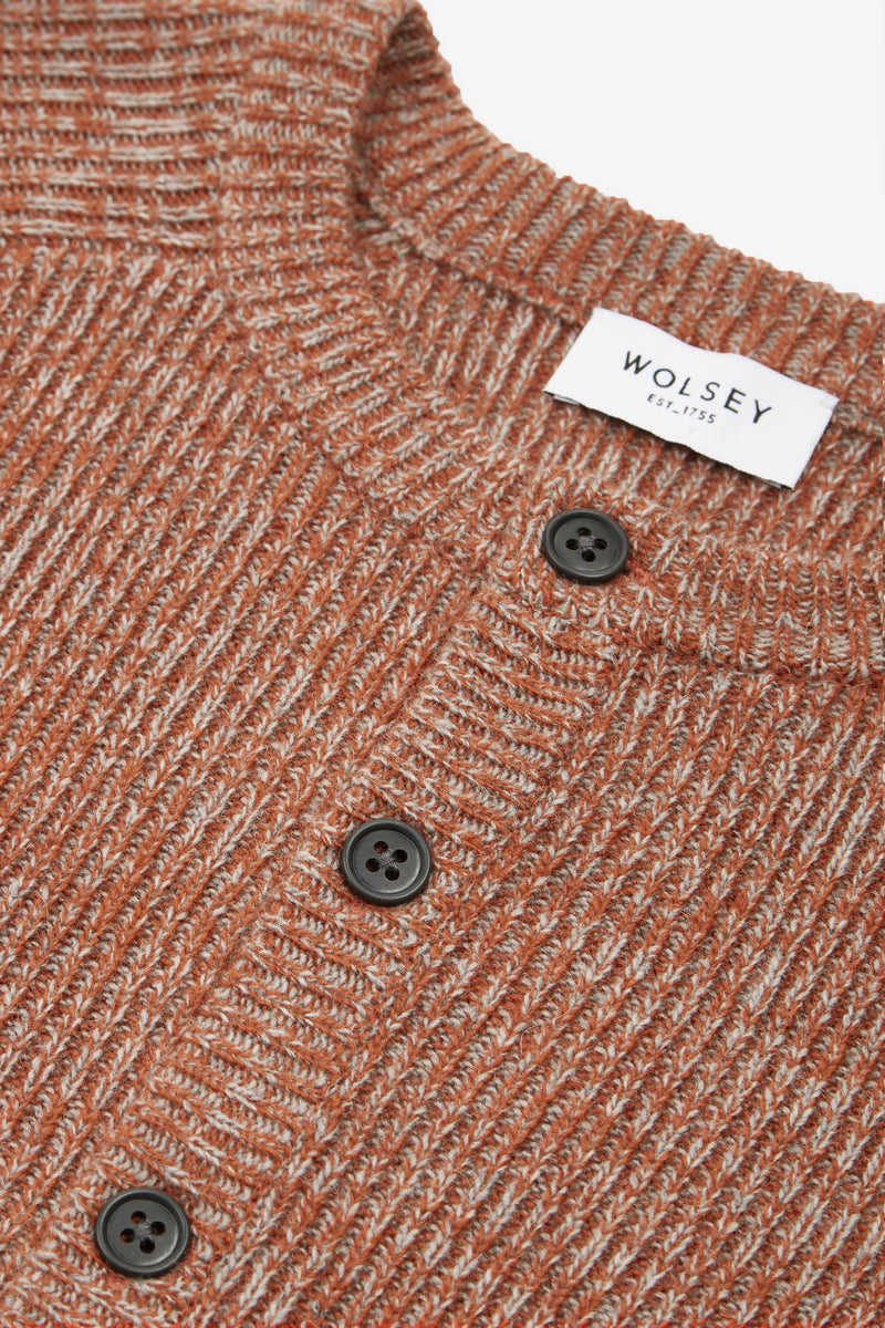 RUST KNIT HENLEY SWEATER