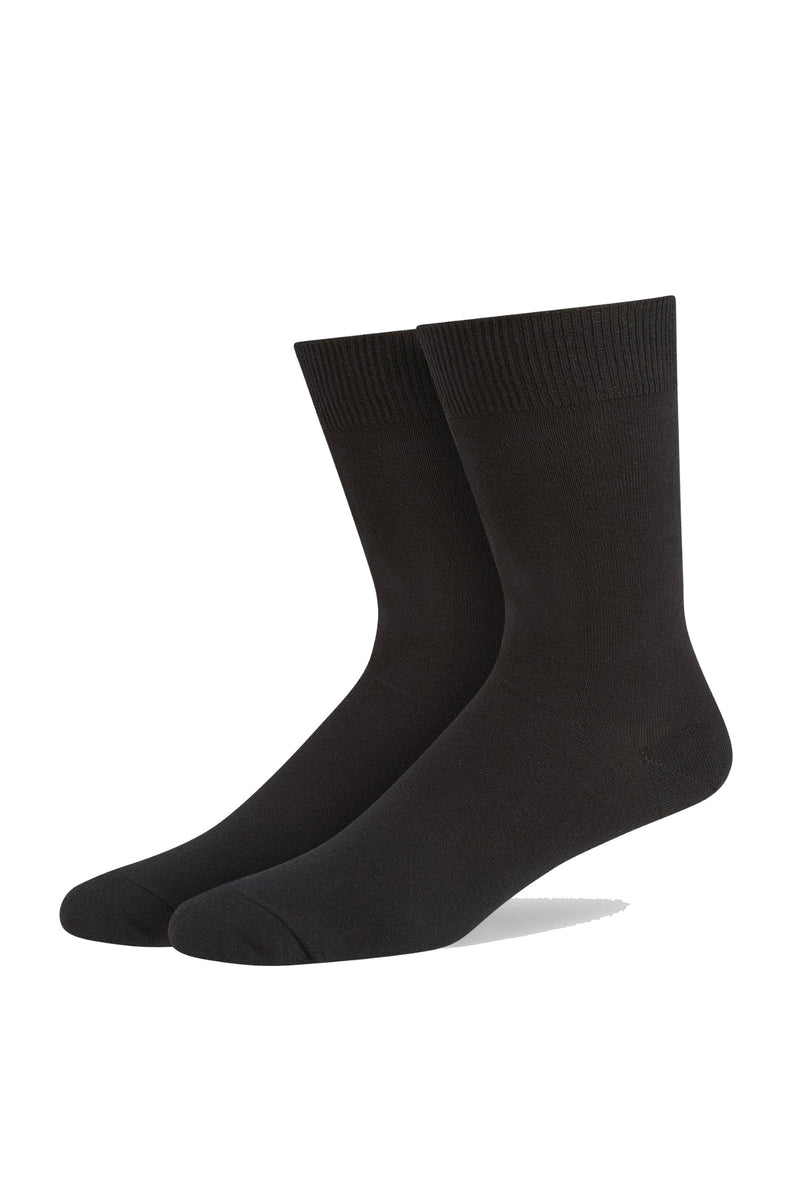 Black Classic Single Flat Knit Cotton Sock