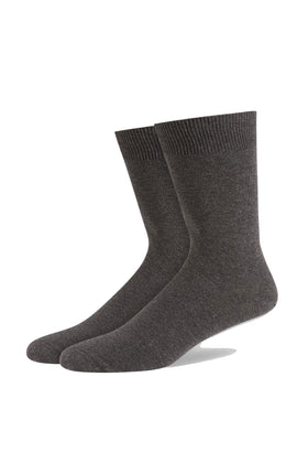 Charcoal Classic Single Flat Knit Cotton Sock
