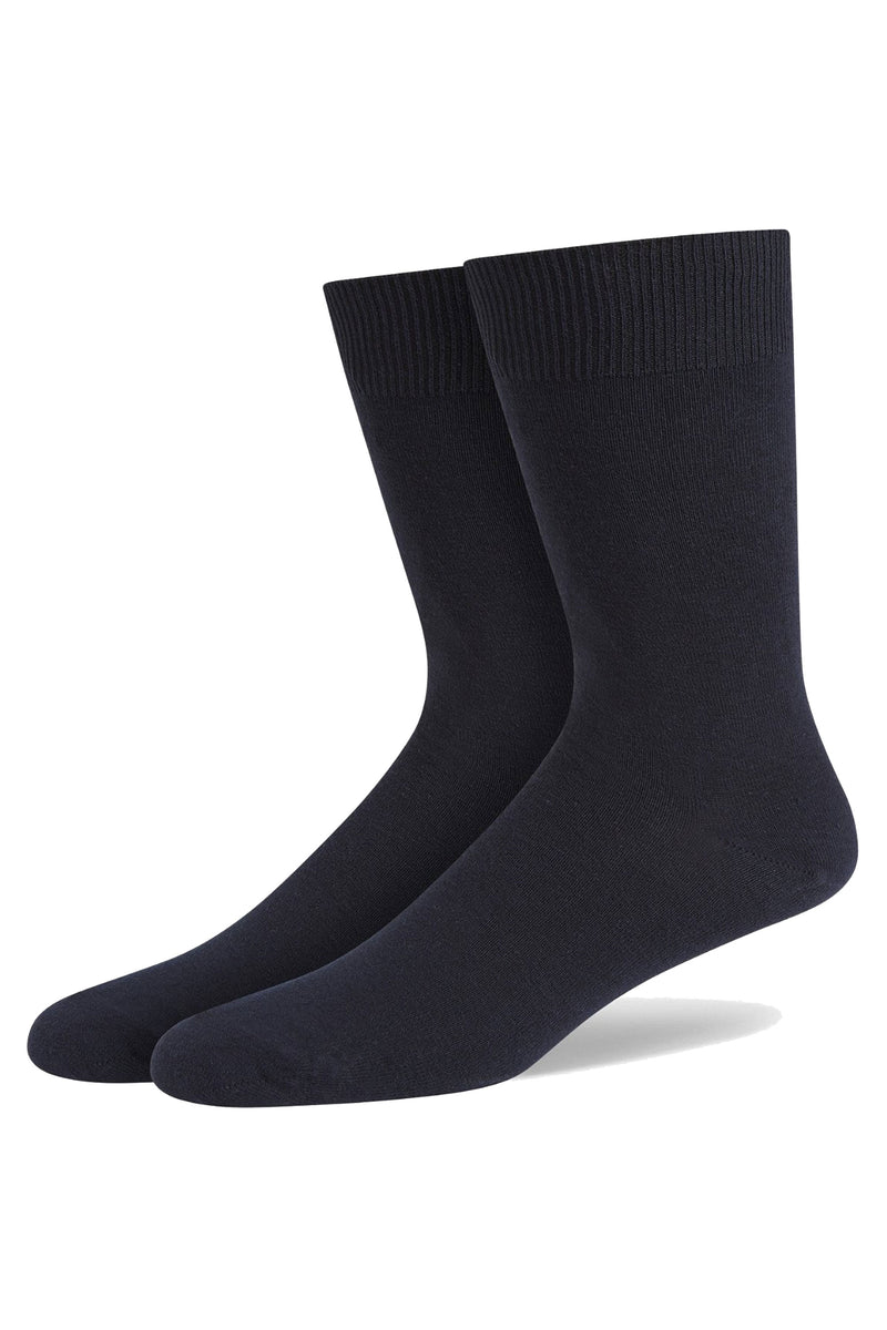 Navy Classic Single Flat Knit Cotton Sock