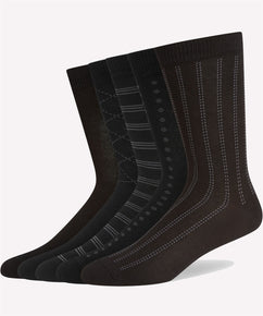 BLACK 5 PACK PATTERN COTTON SOCKS