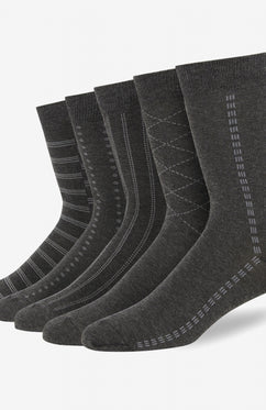 CHARCOAL 5 PACK PATTERN COTTON SOCKS