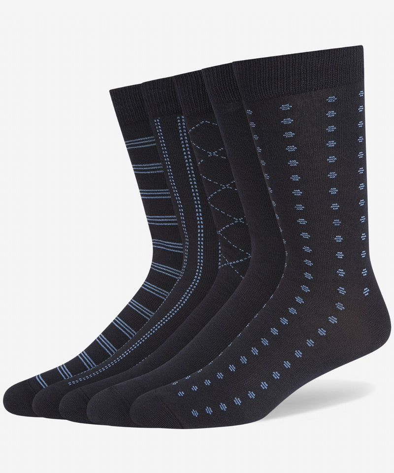 NAVY 5 PACK PATTERN COTTON SOCKS