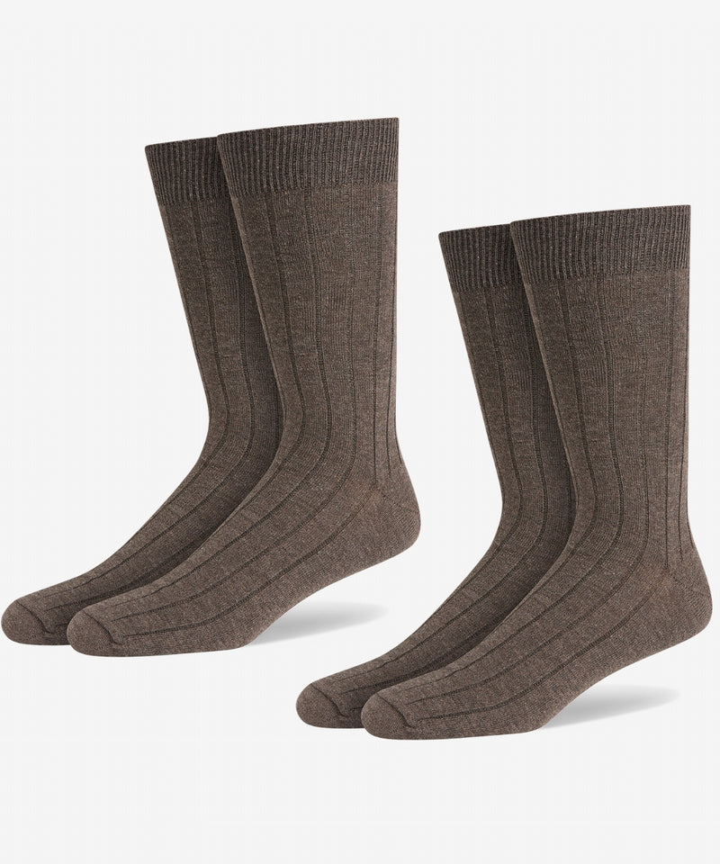 BROWN COTTON RICH RIB SOCK [TWIN PACK]