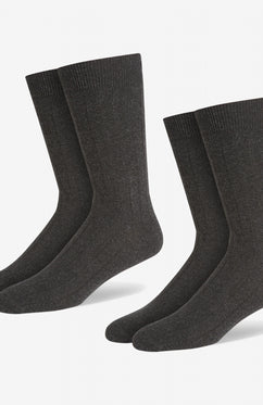 CHARCOAL COTTON RICH RIB SOCK [TWIN PACK]