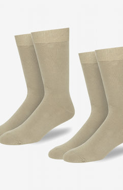 STONE TWIN PACK COTTON FLAT KNIT SOCKS