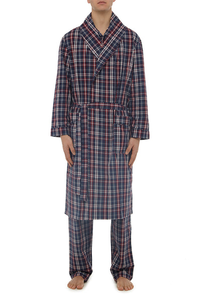 Navy Check Robe
