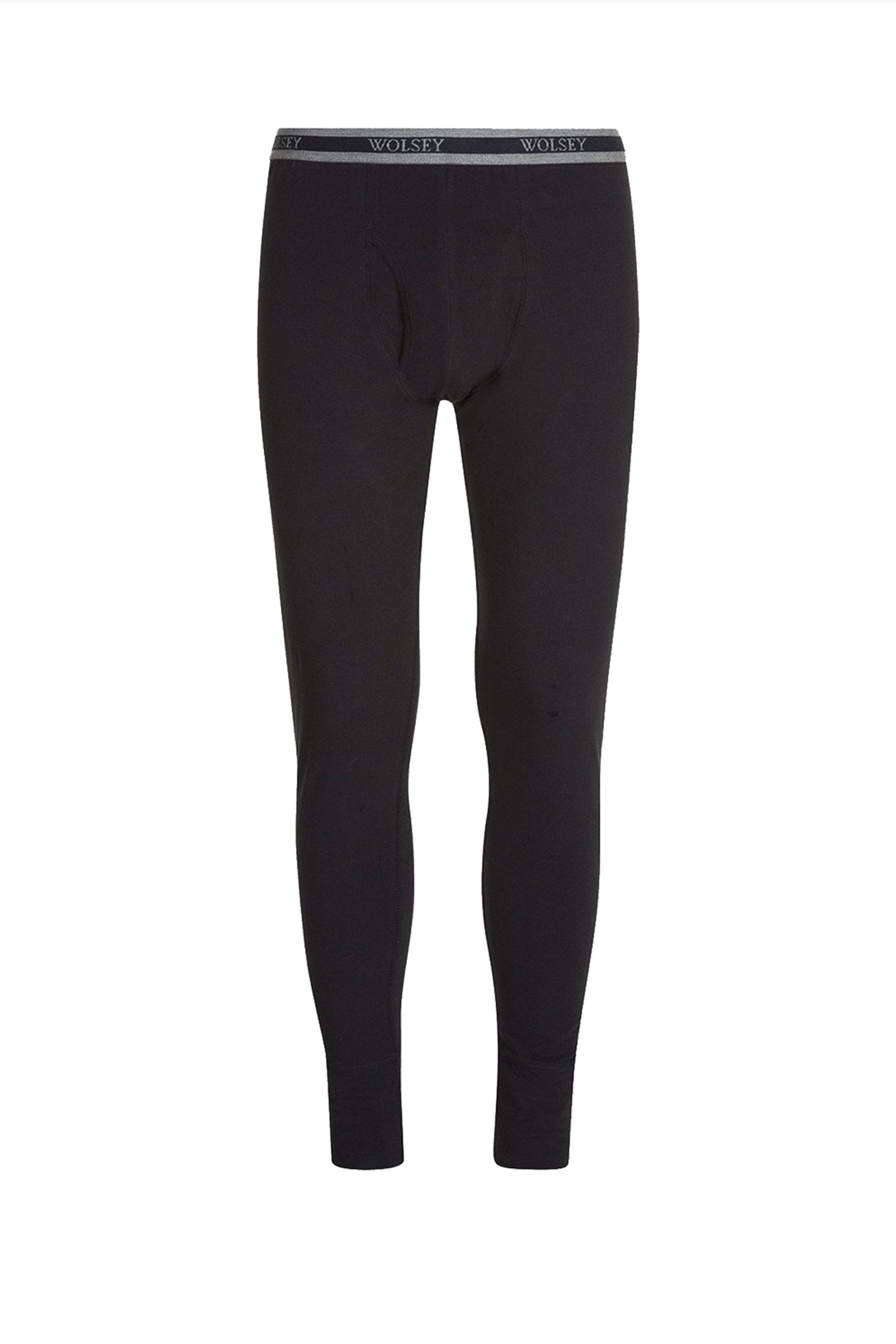 Black Classic Style Ribbed Long Johns With Keyhole Opening