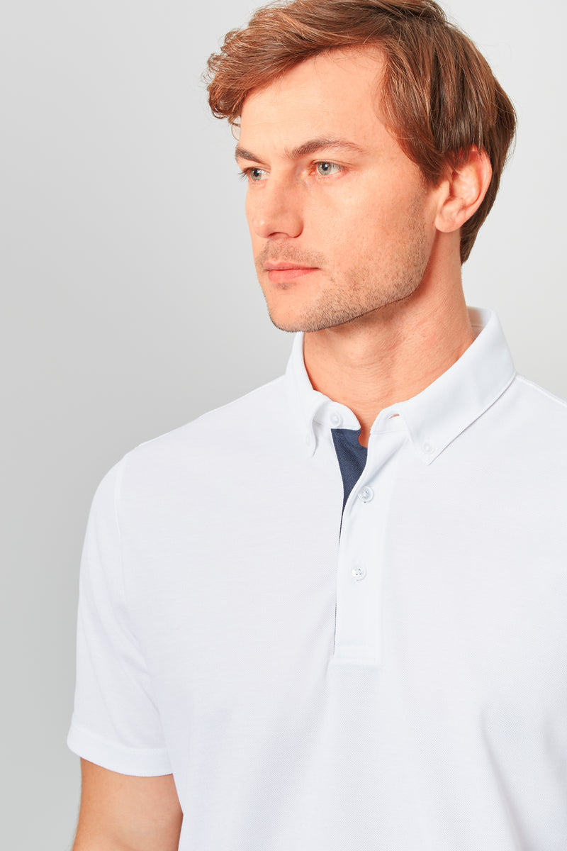 White Temperature Regulating Pique Polo