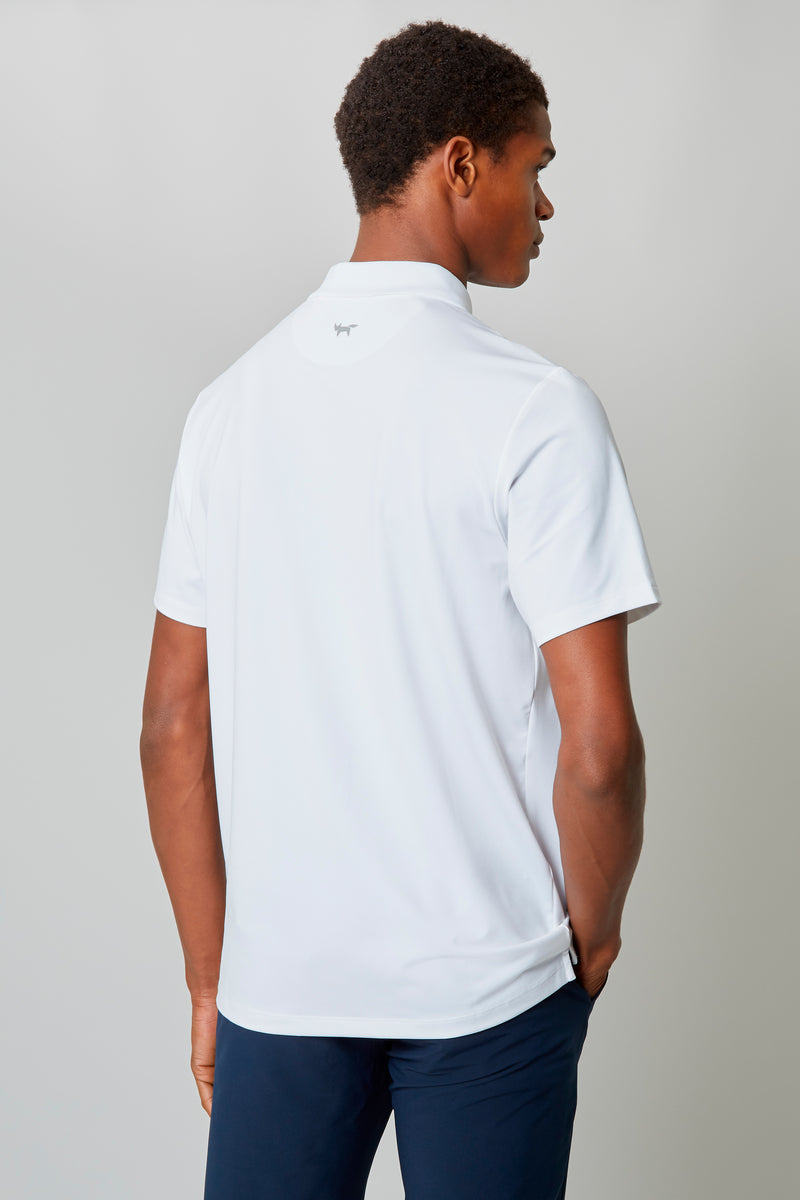 White Temperature Regulating Jersey Polo