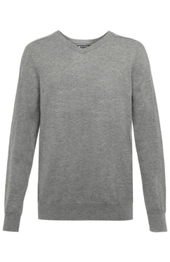 MERINO VEE NECK SWEATER IN GREY MELANGE